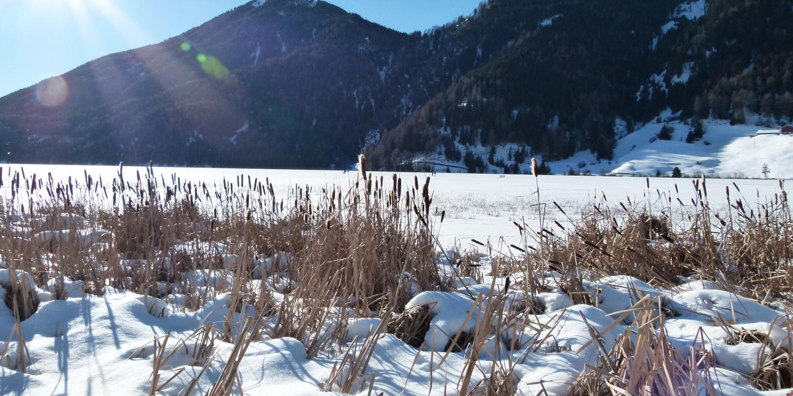 Winter landscape at lake San Valentino