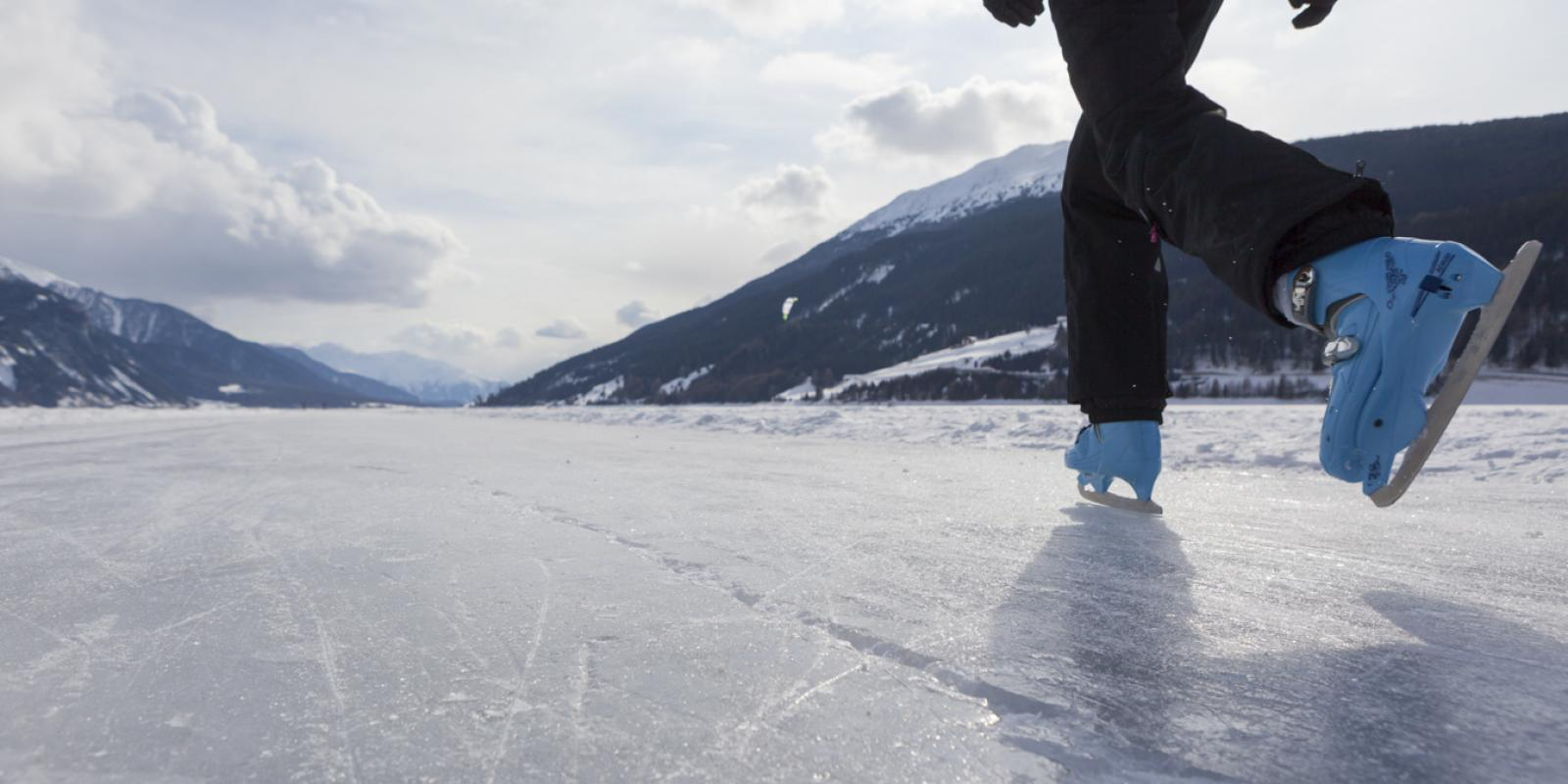Ice skating on the Resia lake